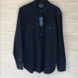 Large lucky brand men's button shirt navy blue